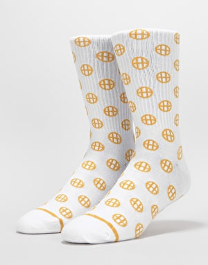 HUF Circle H Crew Socks - White