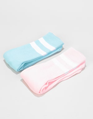 Route One Classic Crew Socks 2 Pack - Pastel Pink/Pastel Blue