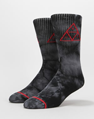 HUF Spot Dye Triple Triangle Crew Socks - Black