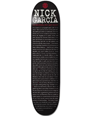 Element Garcia Type Press Skateboard Deck - 8.25