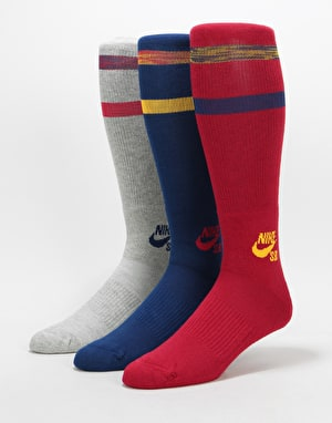 Nike SB Crew Socks 3 Pack - Multi Colour