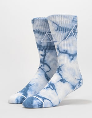 HUF Spot Dye Triple Triangle Crew Socks - Moon Indigo