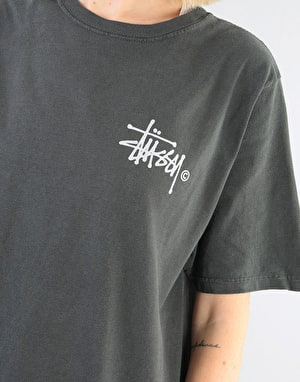 Stüssy Womens Basic Logo Pigment Dyed T-Shirt - Black