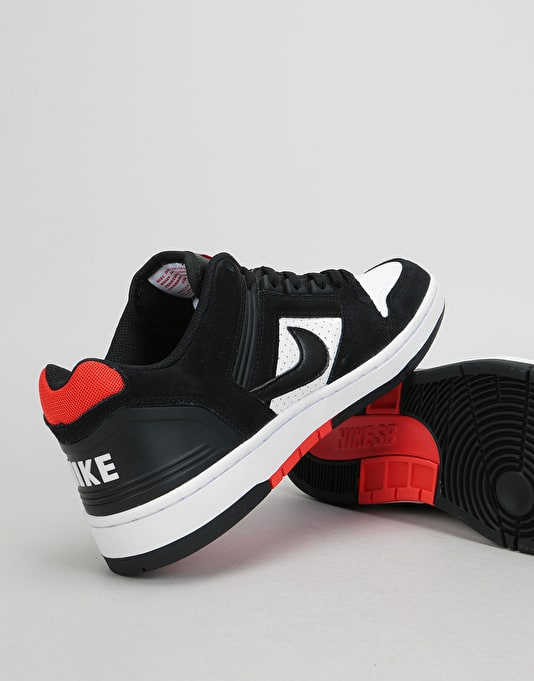 Nike SB Air Force II Low Skate Shoes - Black/Black-White-Habanero Red
