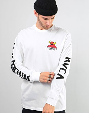 RVCA x Toy Machine Small Logo L/S T-Shirt - White