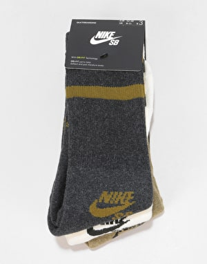 Nike SB Crew Skateboarding Socks 3 Pack - Brown/White/Dark Grey