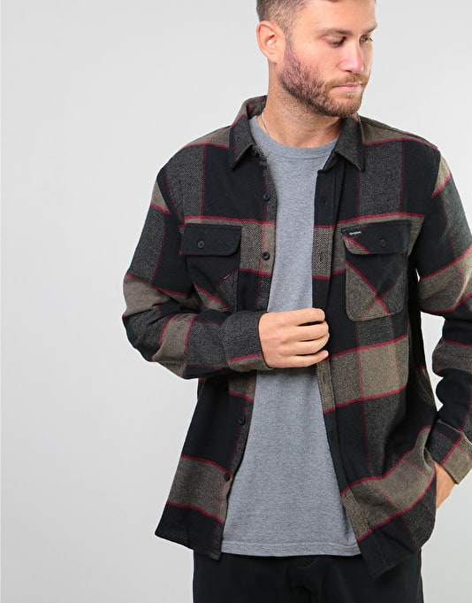 Brixton Bowery L S Flannel Shirt - Heather Grey Charcoal  ac144a20c27