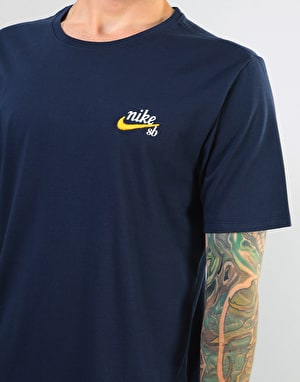 Nike SB Dri-Fit Embroidered Logo T-Shirt - Obsidian/Yellow Ochre
