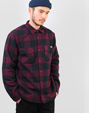 Dickies Long Sleeve Lansdale Shirt - Maroon