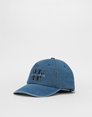 Just Have Fun Stoned Wash Denim Dad Cap - Blue