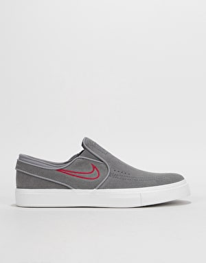 Nike SB Zoom Stefan Janoski Slip Skate Shoes - Gunsmoke/Gunsmoke-Red