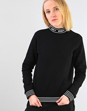Obey Womens Quincy Mockneck Sweatshirt - Black