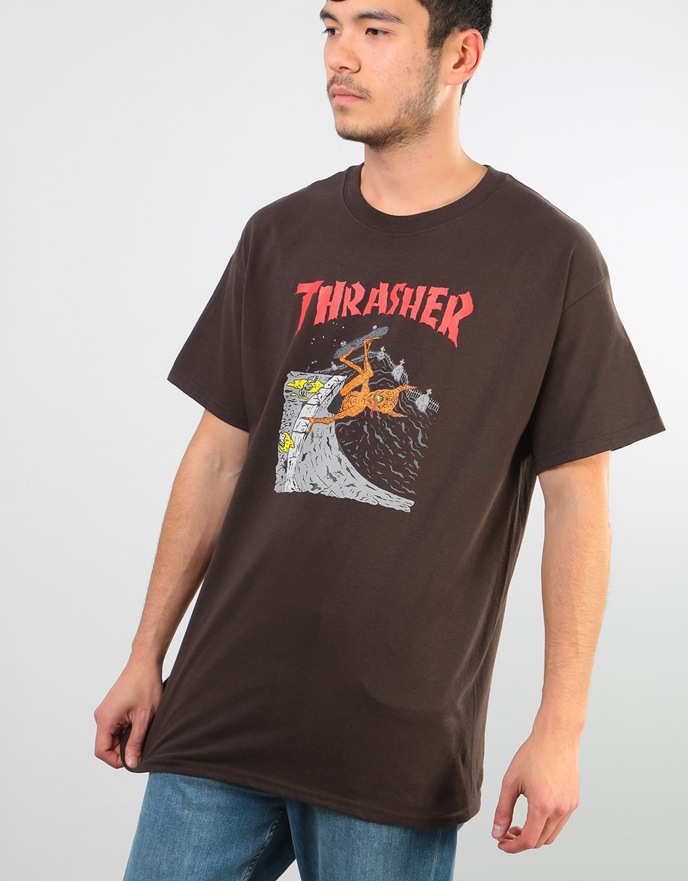 Thrasher Neckface T-Shirt - Brown  836172f495