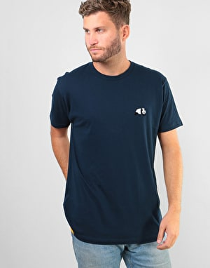 Enjoi Small Panda Flocking T-Shirt - Navy