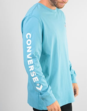Converse Star Chevron Wordmark L/S T-Shirt - Shoreline Blue