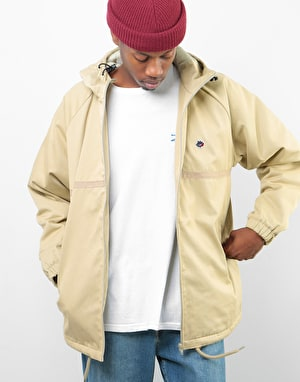 Magenta Hooded Coach Jacket - Beige