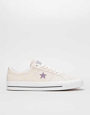 Converse One Star Pro Ox Skate Shoes - Egret/Violet Dust/White