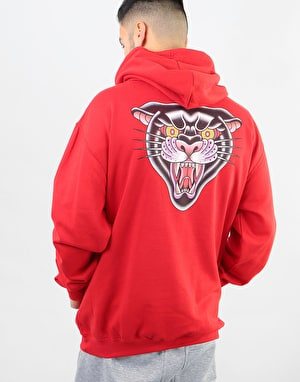 Scarred For Life Black Panther Pullover Hoodie - Fire Red
