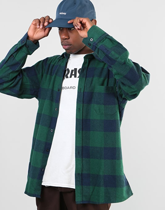 Route One Flannel Shirt - Green/Navy