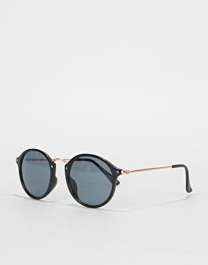 Route One Oval Wire Sunglasses- Black