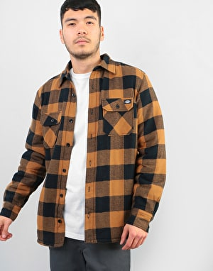 Dickies Lansdale Sherpa Lined L/S Shirt - Brown Duck