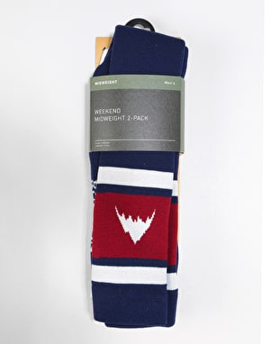 Burton Weekend Midweight 2 Pack Snowboard Socks - Mood Indigo