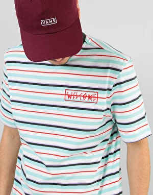 Welcome Surf Stripe Embroidered Knit T-Shirt - White/Red