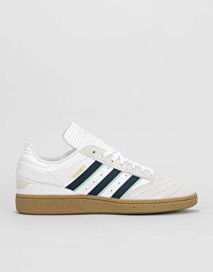 Adidas Busenitz Pro Skate Shoes - White/Collegiate Burgundy/Clear Mint