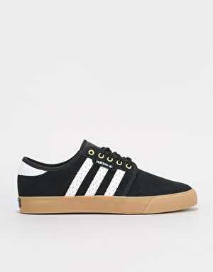 Adidas Seeley Skate Shoes - Core Black/White/Gold Metallic