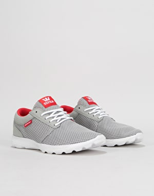 Supra Hammer Run Shoes - Light Grey/Risk Red/White