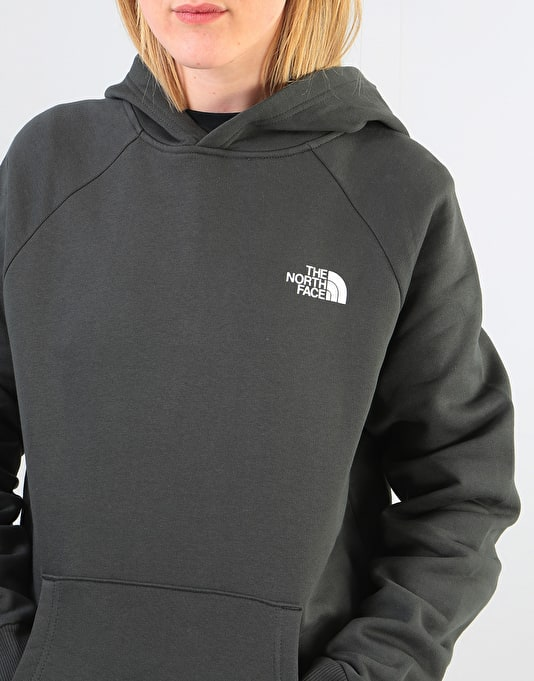 The North Face Womens Raglan Red Box Oversized Pullover Hoodie - Grey
