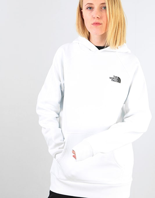 The North Face Womens Raglan Red Box Oversized Pullover Hoodie - White