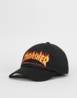 Thrasher Flame Old Timer Strapback Cap - Black