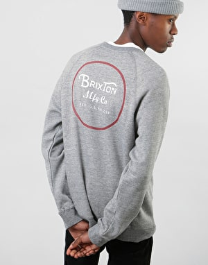 Brixton Wheeler Crew - Heather Grey/Brick