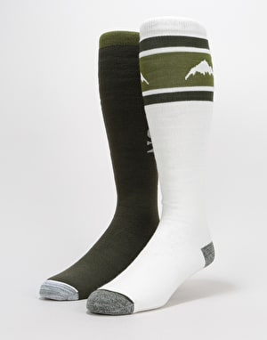Burton Weekend Midweight 2 Pack Snowboard Socks - Forest Night