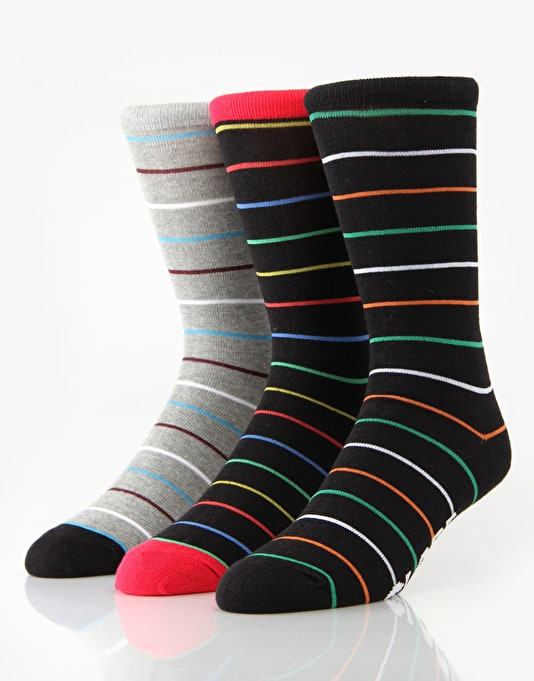 Globe Stripe Deluxe Socks - 4 Pack
