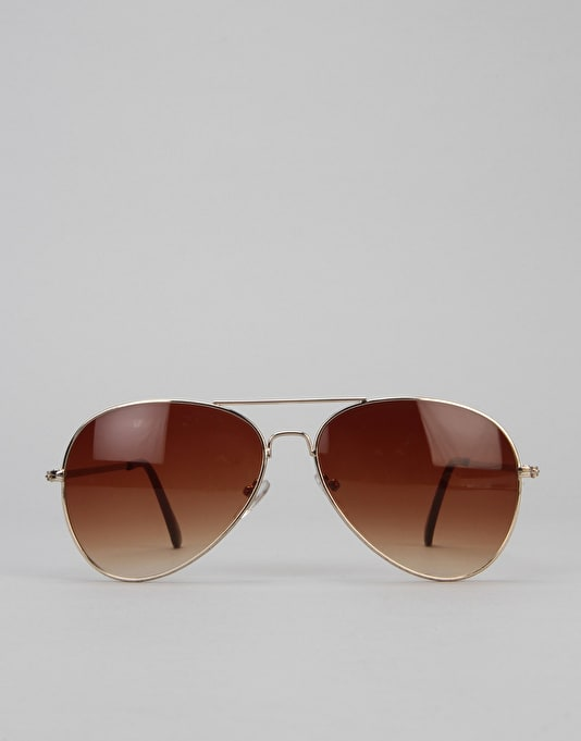 Route One Basics Aviator Sunglasses - Gold/Brown