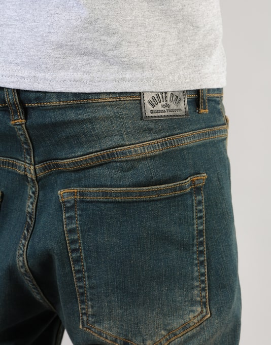 Route One Relaxed Denim Jeans - Washed Indigo