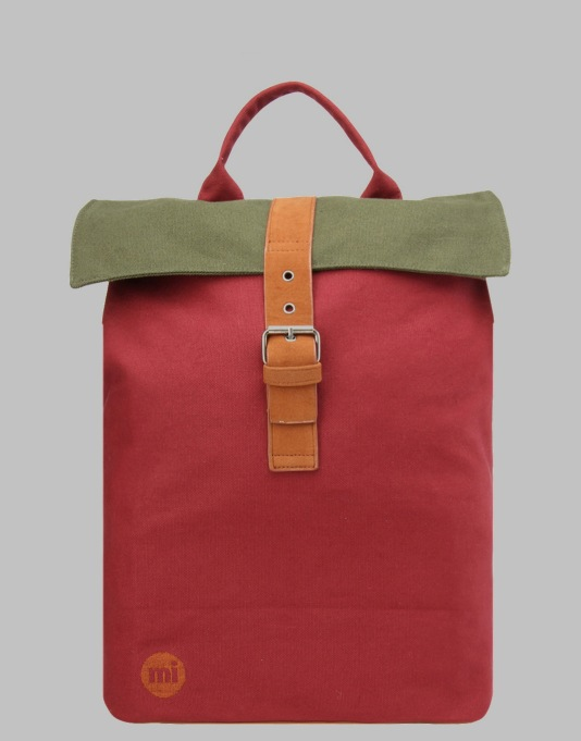 Mi-Pac Tonal Canvas Day Pack - Burgundy/Khaki