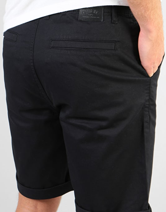 Route One Roll Up Chino Shorts - Black