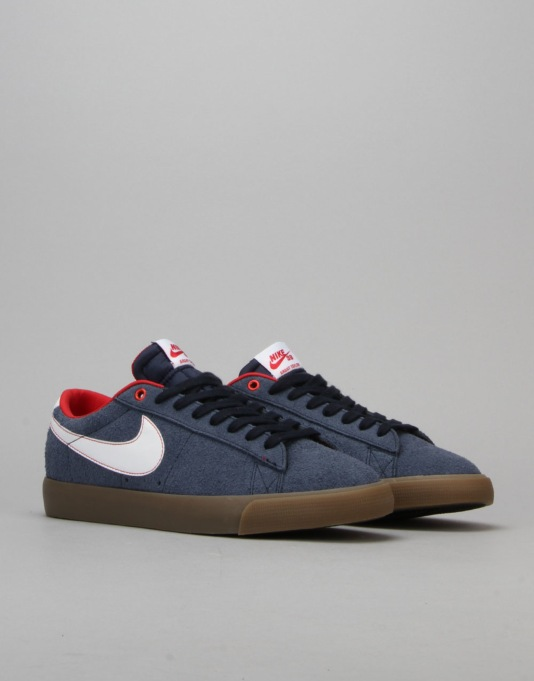 Nike SB Blazer Low GT Skate Shoes - Obsidian/White-University Red-Gum
