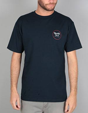 Brixton Wheeler II S/S T-Shirt - Navy/Red/White