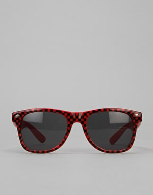 Route One Basics Check Wayfarer Sunglasses - Red/Black
