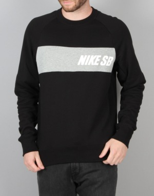 Nike SB Everett Graphic Crew Top Sweatshirt - Blk/Dk Gry Heather/White