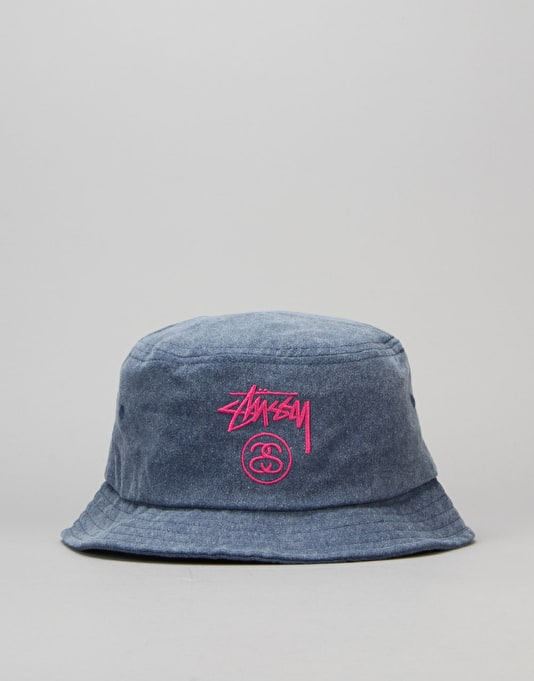 36ed3a20394 Stüssy Stock Lock Pigment Dye Bucket Hat - Navy