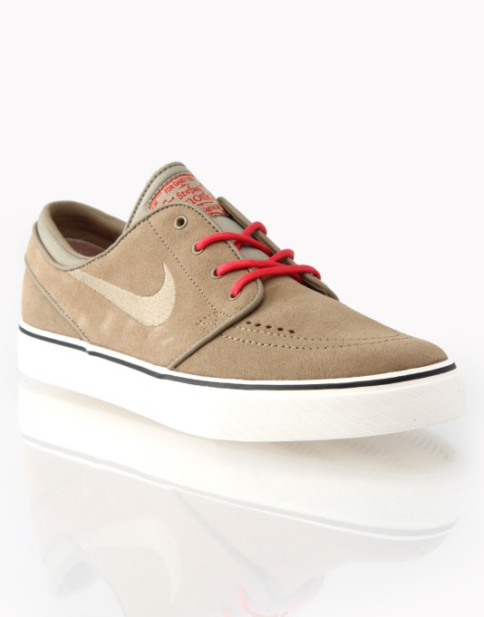 Nike SB Zoom Stefan Janoski Skate Shoes - Khaki/Khaki/Red