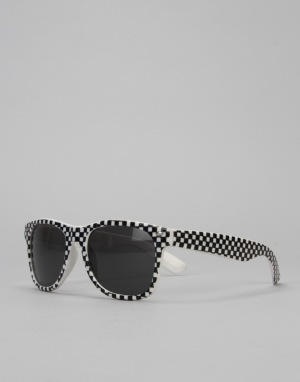 Route One Check Wayfarer Sunglasses - Black/White