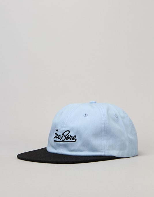 5boro Script 6 Panel Cap - Washed Blue