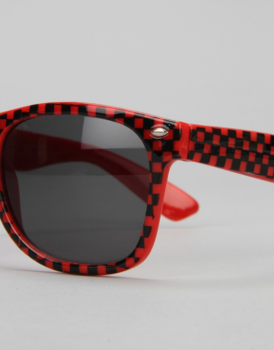 Route One Check Wayfarer Sunglasses - Red/Black