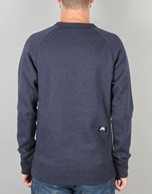 Nike SB Icon Fleece Sweatshirt - Obsidian Heather/Lt Photo Blue